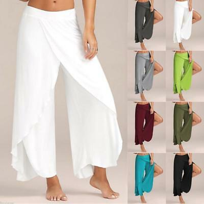 Womens Slit Flared Palazzo Trousers Wide Leg High Loose Chiffon Harem Yoga Pants
