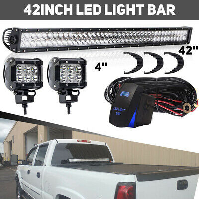 "42Inch LED Light Bar Combo +4"" CREE PODS OFFROAD ATV 4WD SUV FORD JEEP 40"""