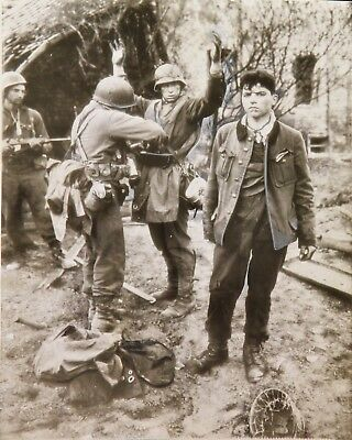 WWII Original PRESS PHOTO German SNIPER CAPTURED SEARCHED by US 3rd ARMY SOLDIER