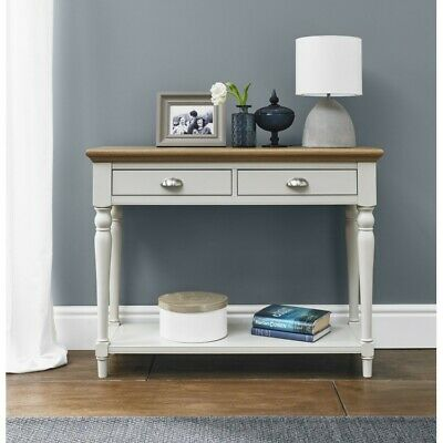 Georgian Painted Grey & Oak Furniture Turned-Leg Hall Console Table 2 Drawers