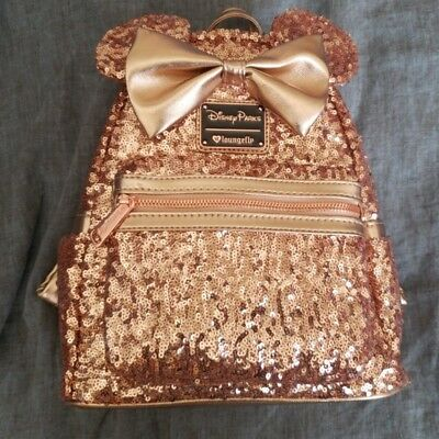 NWT Disney Parks Loungefly Rose Gold Minnie Mouse Bow Mini Backpack Sequin Bag
