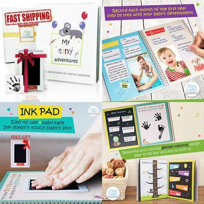 First 5 Years Baby Memory Book + Clean-Touch Ink Pad + Gift Box. Record Your Gir