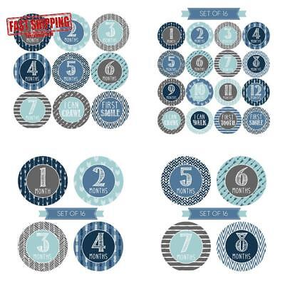 NEW 16 Blue l Baby Boy Milestone Stickers, 12 Monthly Photo Picture Props