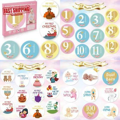 32 Pack Baby Monthly Milestone Stickers For Boys  Girls First Year (Free Headba