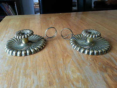 Pair of Arts & Crafts Joseph Sankey & Sons Brass Chambersticks Circa 1896