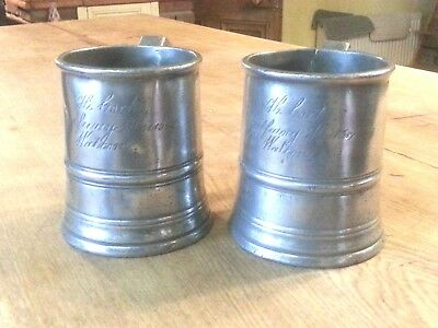 Fine Pair of Pint pewter Tankards by Acton, Halfway House Walton