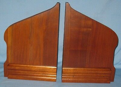 "ANTIQUE PAIR SOLID BURL WALNUT BRACKETS/SUPPORTS FOR WALL SHELF 13 1/4""H x 9""W"