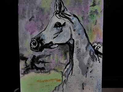Arabian Horse Art  Original ABSTRACT on Hardboard cj lee painting