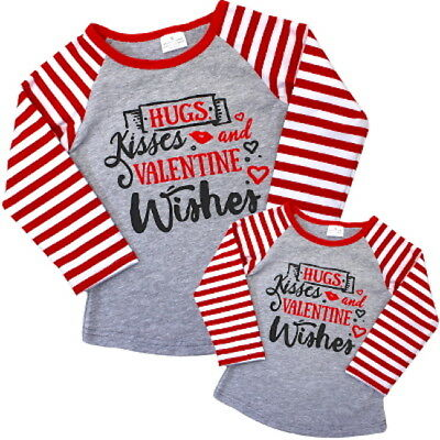 Valentine Wishes Mommy & Me Shirt~(each sold separately)~hugs~kisses~red~gray~bl