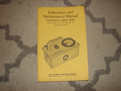 Victoreen Radiation Detector CDV 715 Survey Meter model 1A Manual