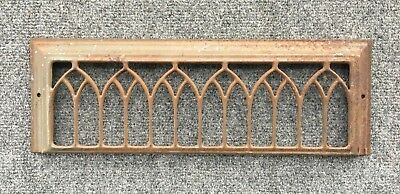 1 Antique Stamped Steel Wall Heat Grill Vent  5 x 16 Vtg baseboard Gothic 20-19J