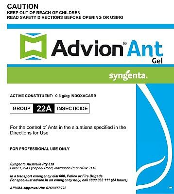 Syngenta Advion Ant Killer Gel Bait Home Office Factory Pest Control AU STOCK