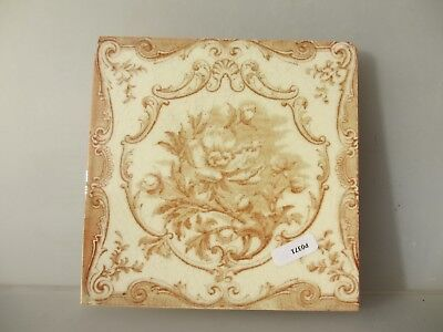 Antique Ceramic Tile Vintage Floral Flower Gilt Leaf Art Nouveau Flowers Old