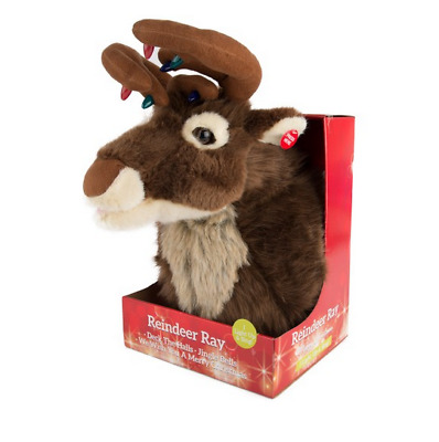 Christmas Singing Reindeer Head Hanging Soft Plush Stag Lights Wall Decoration