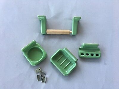 Vtg Green Porcelain Toilet Paper Cup Soap Toothbrush Holder Old NOS 21-19J