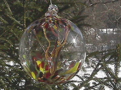 "Hanging Glass Ball 6"" Diameter ""Vermont Fall Tree"" Witch Ball (1) #112"