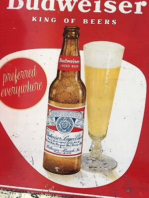Red and Gold Tin Sign Budweiser Bottle Beer