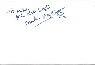 Mark Hastings actor signed white card dedicated in person autograph Z3382