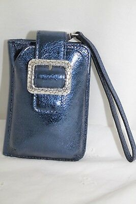 *RARE* Brighton Shiny Patent Leather PEBBLE PHONE CARD CASE in Sapphire *NEW*