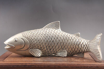 Exquisite Old China Tibet silver handwork  fish statue RN01