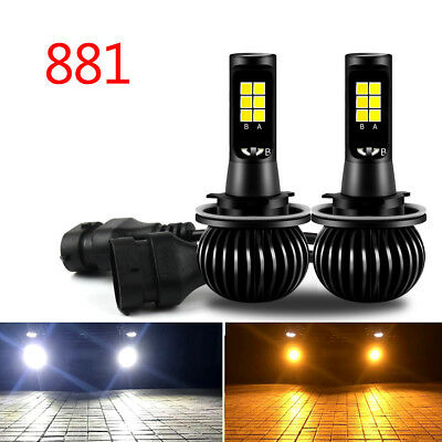 2xBlanc/Jaune Dual Color Lampe LED 880/881 COB Phare Voiture Feux Fog Headlight.