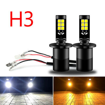 2xH3 COB Car Lampe LED Phare Voiture Feux Blanc/Jaune Headlight Fog Light Bulb B