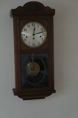 Oak Cased Westminster Chime Wall Clock