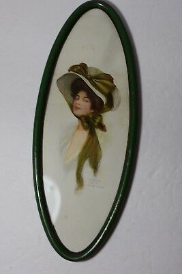 Victorian Golf  Girl by Archie Gunn 1908  in Oval Green Metal Frame