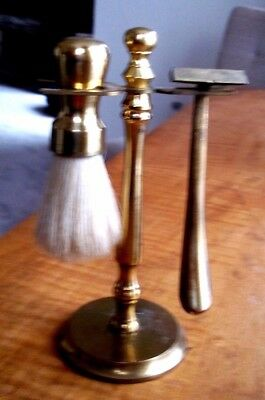 VNTG Brass Shaving Set w/ Stand Razor  Brush -FOR USE OR-Barber Shop Decor-euc