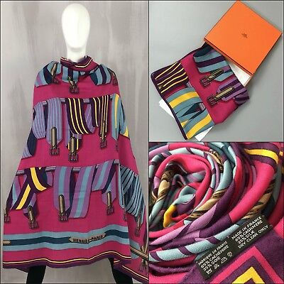 5c4450f6ee38 RARE Hermes Pink Les Sangles CASHMERE Silk 140cm XL Large GM Shawl Scarf  Stole