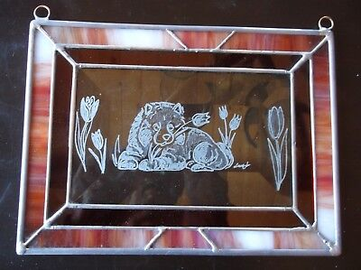 Keeshond Puppy- Beautifully Hand engraved Panel by Ingrid Jonsson.