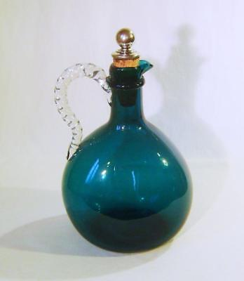 Victorian Emerald Green Glass Claret Decanter with: Period Silver Plated Stopper