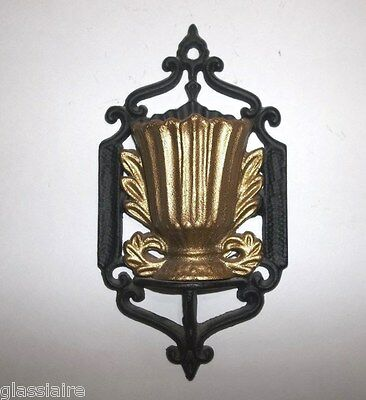 Vintage Cast Iron Match Holder WALL POCKET Vase BLACK GOLD