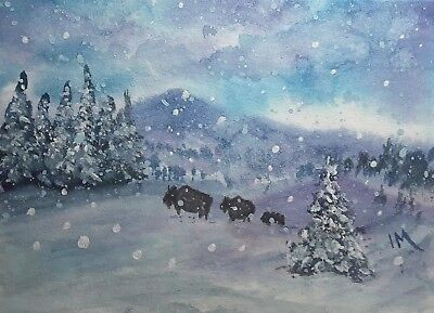 ACEO TW JAN original bison family snow winter trees buffalo landscape metcalfe