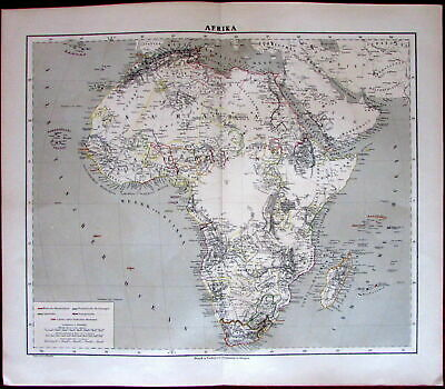 Africa continent cannibals fascinating interior Nile source 1874 Flemming map