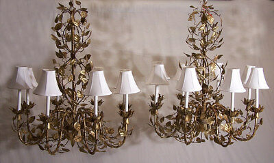 Hand made Italian gold gilt wrought iron tin 8 light chandeliers swirling leafs
