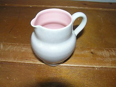 Vintage Small Light Gray with Pink Interior Pottery Pitcher Creamer – 3 inches