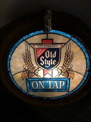 """Old Style Beer, Round Plastic Stained Glass Sign 18"""" Dia."""