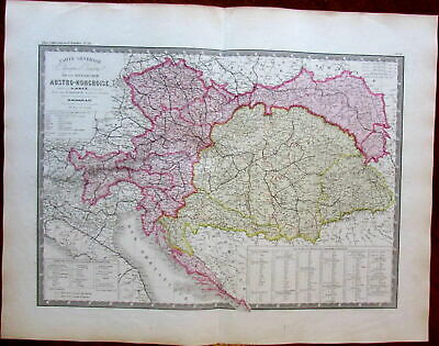 Austria Hungary Austro-Hungarian Empire Europe 1875 large old engraved map