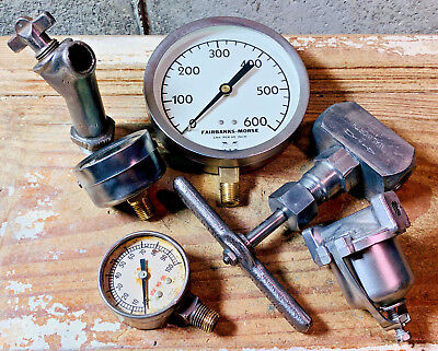TERRIFIC Vintage Brass Pressure Gauge Lot Antique Water Valve, Steel Fuel Filter