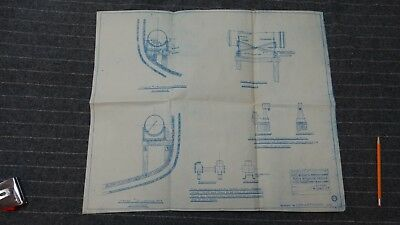 """(H1085-27) Original 1918 Blueprint Drwg 21"""" x 25"""" - Foundations for Auxiliaries"""