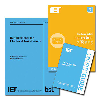 18th Edition Wiring Regulations + IET On-Site Guide + IET Guidance Note 3 Blue