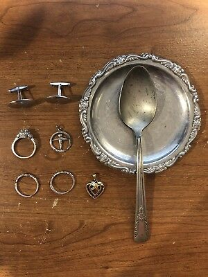 Silver Lot - Vintage Spoon and Coaster - Modern Rings and Jewelry - 9 Pieces