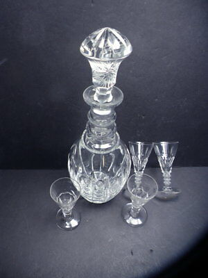 6Pc rare ca 1800 antique ring neck George 3rd cut glass Sherry or wine decanter