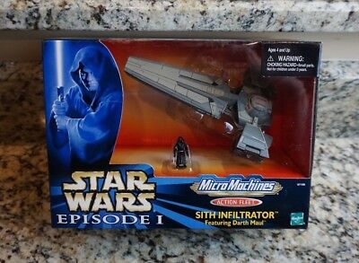 Sith Infiltrator w Darth Maul 1999 STAR WARS Micro Machines Action Fleet MIB