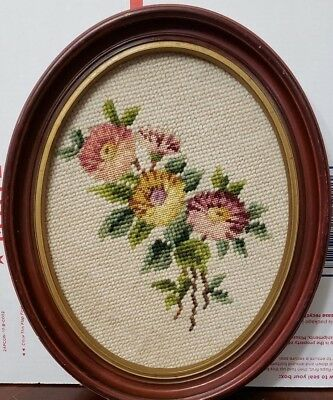 Vintage Handmade Needlepoint OVAL Framed FLOWERS Picture ~Approx 10 x 6 x 1