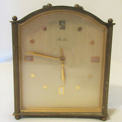 Vintage Mauthe Brass and Glass Carriage Alarm 8 Day Clock Made in W Germany 1946