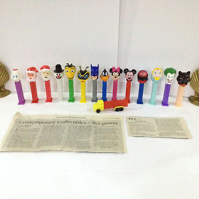 PEZ DISPENSERS 15 LOT and A PEZ NEWSPAPER ARTICLE
