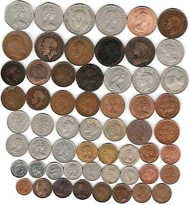 58 different world coins from GREAT BRITAIN