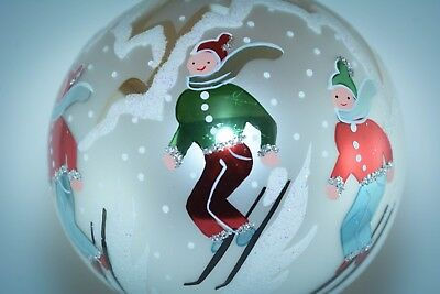 Christopher Radko Round Ball Christmas Ornament ALPINE SKIERS Vintage Fantasia